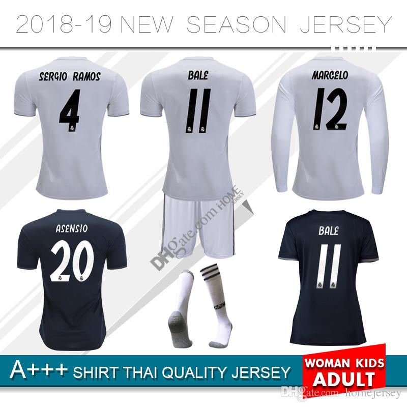 5c4fe7d78 2019 2018 2019 Real Madrid Home Soccer Jersey 18 19 BENZEMA BALE KROOS  SERGIO ISCO RAMOS MODRIC NAVAS ASENSIO Away 3rd Football Shirts From  Homejersey