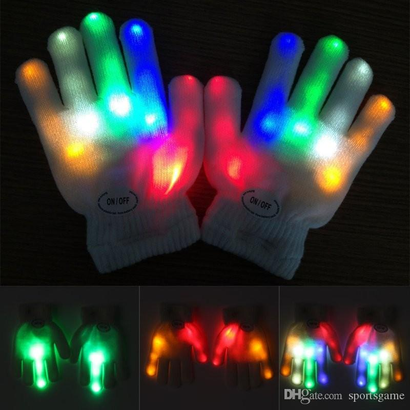 Newest New Kids Fingertip Led Gloves Rainbow Flash Light Glow Stick Gloves Mittens Apparel Accessories