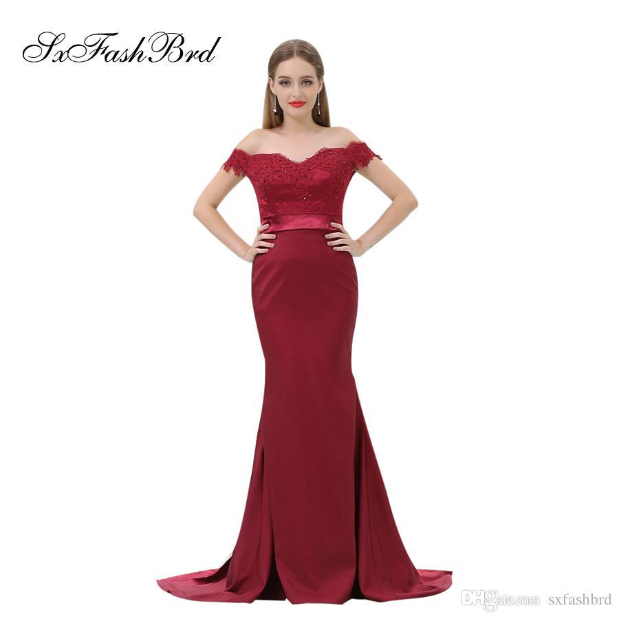 c1cdb83a7dbb Vestido elegante de las muchachas del amor con los appliques mangas cortas  sirena del satén rojo Partido largo vestidos de noche formales para las ...