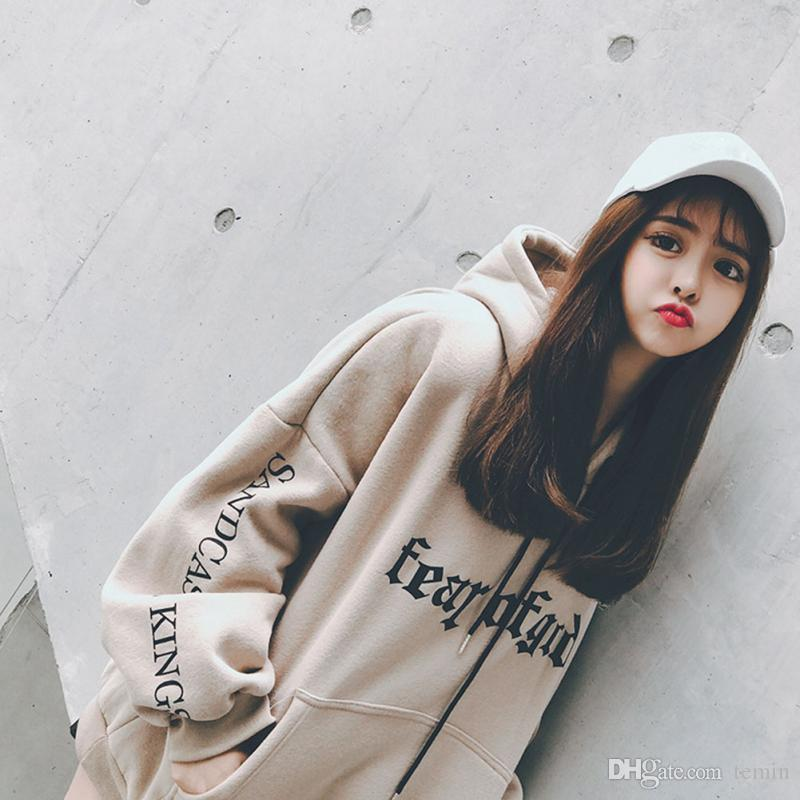 2018 Fashion Harajuku Style Letter Printed Hooded Tops Women Autumn Soft  Casual Loose Hoodie Hip Hop Girl Ladies Pullover Swag From Temin, $21.28