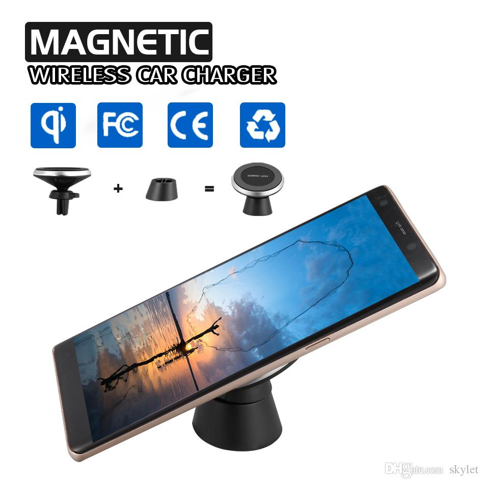 Magnetic Qi Wireless Car Charger For iPhone X 8 8 Plus Air Vent Mount Charing Holder Compatible With Universal Qi-Enabled Smartphones