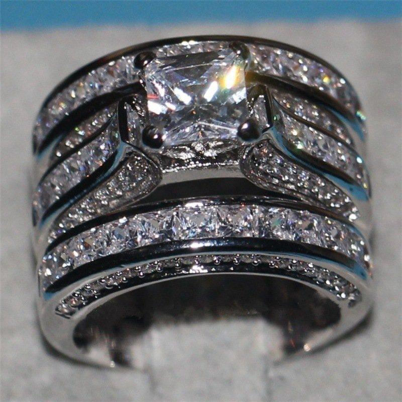 2018 Women Wedding Ring Set Sparkling Perfect Square Cut 5a Zircon