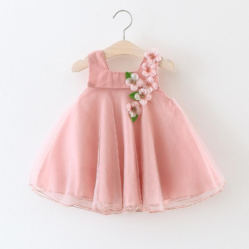 Wholesale 4pcs/pack 2018 Summer New Children's Wear Baby Girl Korean Dress Peach Blossom Appliques Princess Ball Gown Dresses
