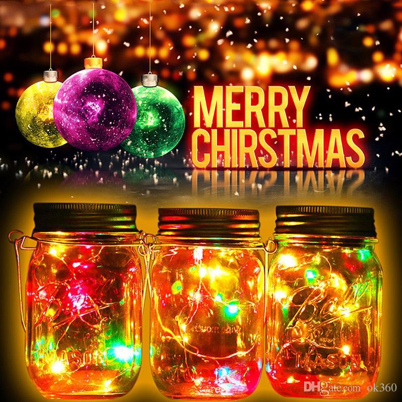 Solar LED Frascos de Pedreiro Levante Tampa 10 20 LED String Fada Luzes Da Estrela Parafuso em Tampas de Prata para Mason Frascos De Vidro de Natal luzes da corda