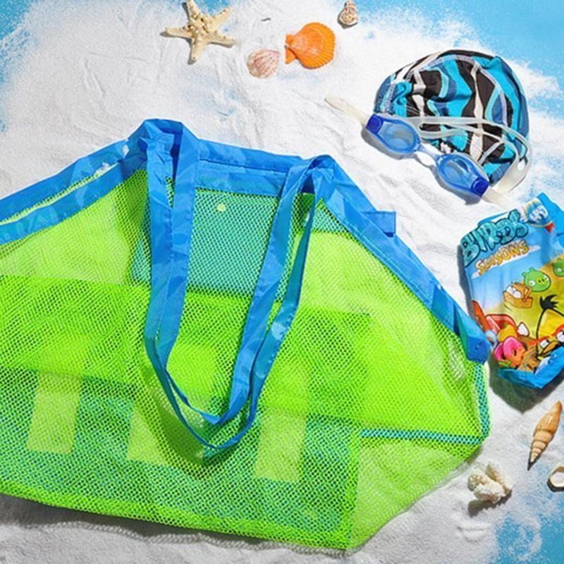 Portable Beach Bag Foldable Mesh Swimming Bag For Children Beach Toy ... bdec61f1e4cdc