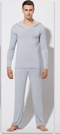 Erkek Twinset Üstleri + pantolon Rahat Buz Ipek Kumaş Uyku Pijama Nedensel Ev Aile Pijama Gece Banyo Giysileri Kazak