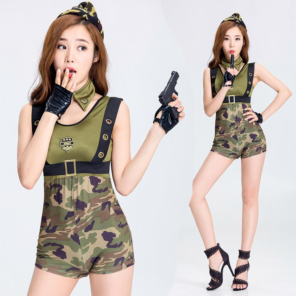 2018 Sexy Nightclub Bar Party Camouflage Military Uniform DS Costume Female  Officer Cosplay DJ Singer Costume Outfit Split Type 2845 Family Halloween  ... 76a79998e275