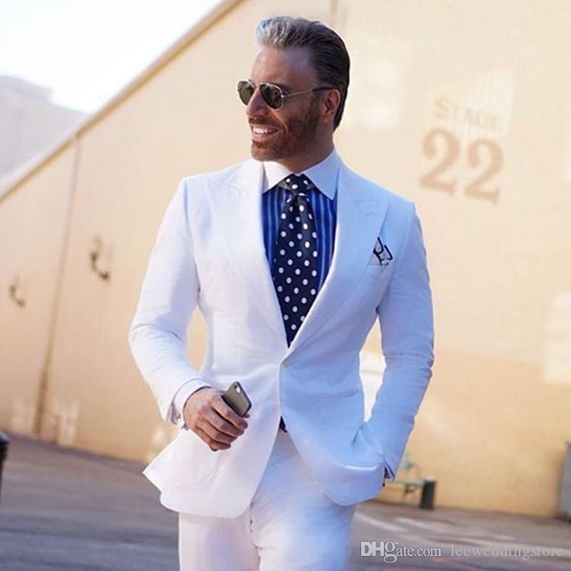 2018 Spring Tailored Made Uomo Abiti Bianchi Abiti da sposa Sposi personalizzati su ordinazione Casual Tuxedo Slim Fit Terno Blazer Masculino 2 Pezzi Jacket + Pant