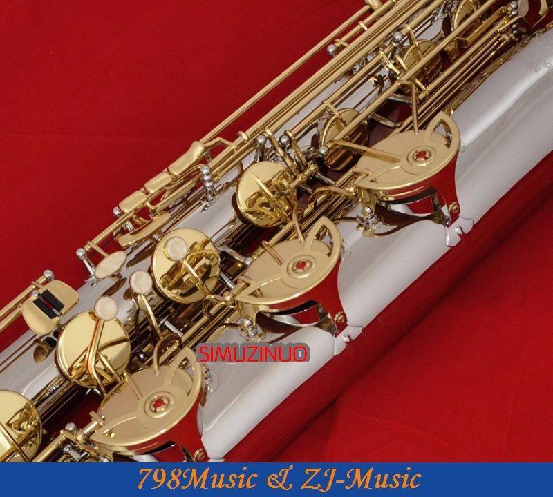 Professionnel Nickel Plaqué Et Or Laque Clés Baryton Saxophone Haute Qualité Laiton Tube Eb Ton Sax Faible A à Haut F # Clé