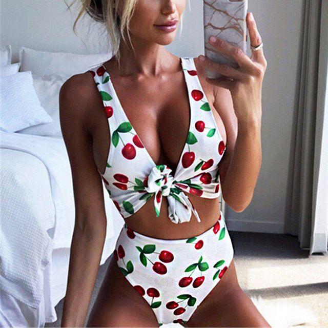 2527b980bbac Imprimir Bikini 2019 Traje de baño Mujer Traje de baño Push Up Bikini de  cintura alta Pajarita Traje de baño Mujeres Vendaje Trajes de baño L