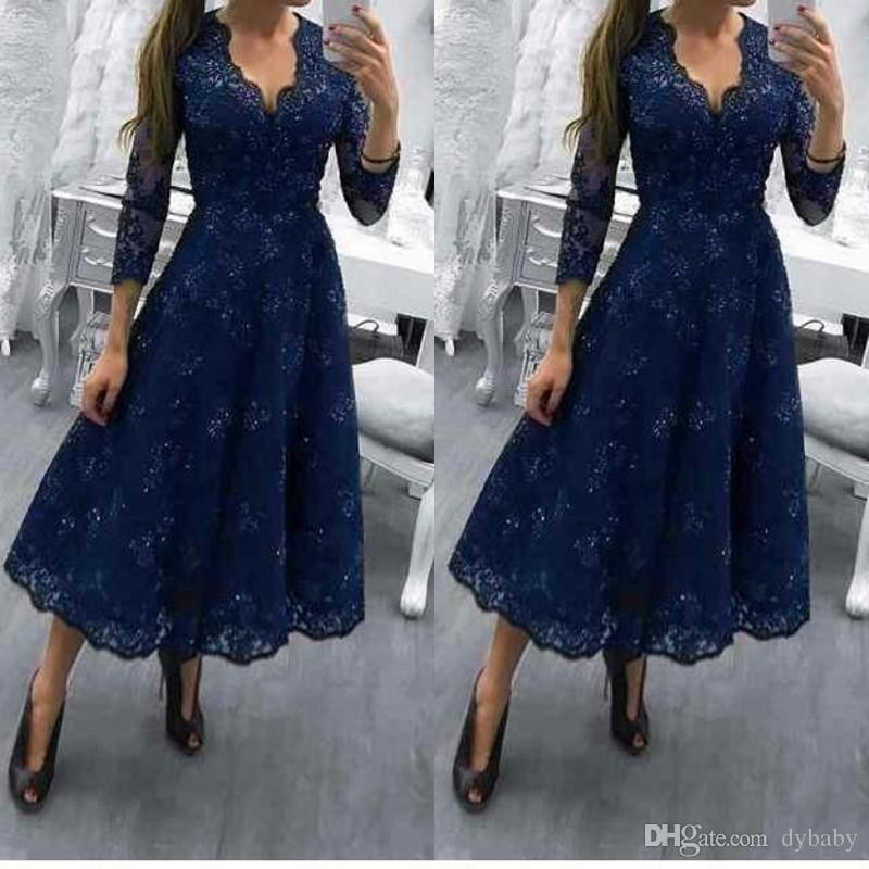 2018 sexy plus size navy blue tea length long sleeves lace mother of the bride dresses
