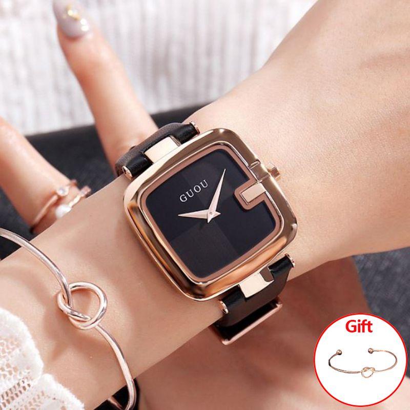 69fca98b987a Compre GUOU Relojes Para Mujer 2018 Relojes De Moda Para Mujer Reloj De Pulsera  Para Mujer Lujo Montre Femme Reloj Cuadrado Saat A  36.96 Del Bojiban ...