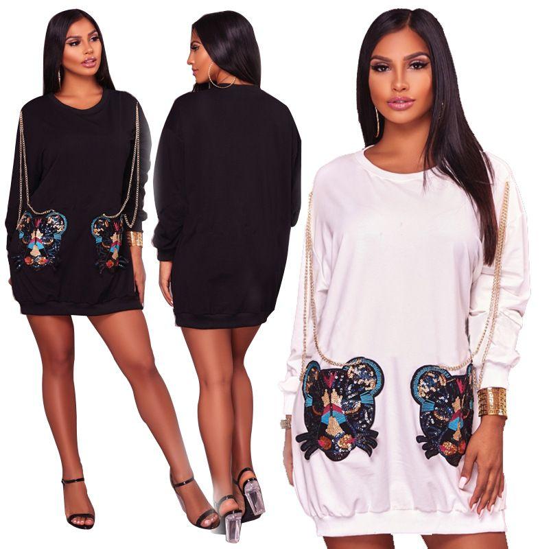 3fae4449830 Autumn Long Sleeve Casual Dresses Women 2018 Fall Fashion Sequin Chain  Pockets Everyday Mini Dresses Black White T Shirt Dress Sweatshirts Dresses  For Women ...