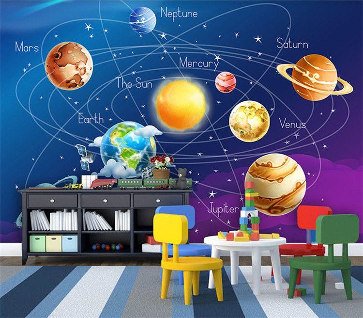Custom Mural Wallpaper 3d Cartoon Planet Solar System Photo Wallpaper Kids Room Bedroom Wall Painting Living Room Wall Paper