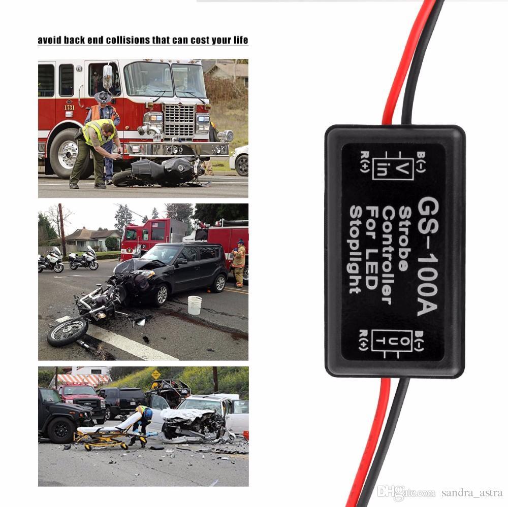 GS-100A 12--24V Flash Strobe Controller for LED Flashing Back Rear Brake Stop Light Lamp Car Accessories for motor bike