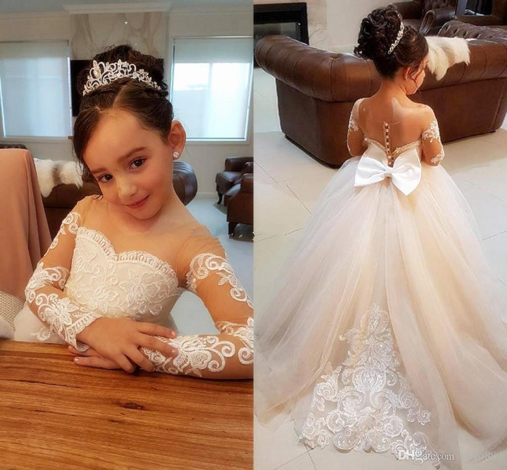 꽃 소녀 드레스 결혼식을위한 얇은 목 긴 소매 아플리케 레이스 얇은 명주 그물 웨딩 드레스 여자 옷 입은 드레스