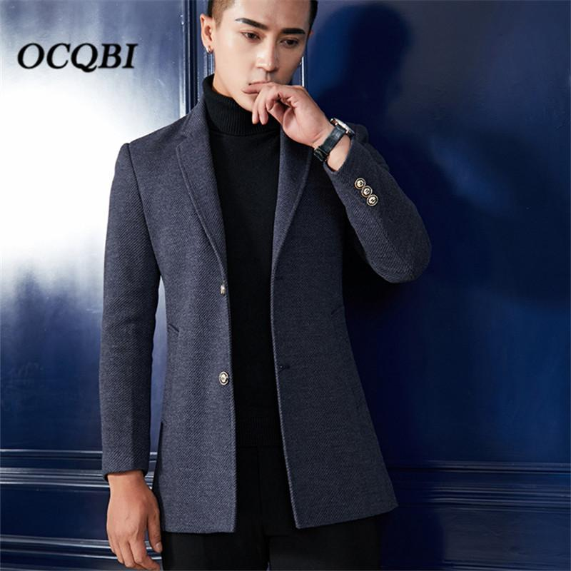 Plus Size M-3XL 2018 Smart Casual Formal Mens Coats Overcoats Fashion  Winter Dress Coat Mens