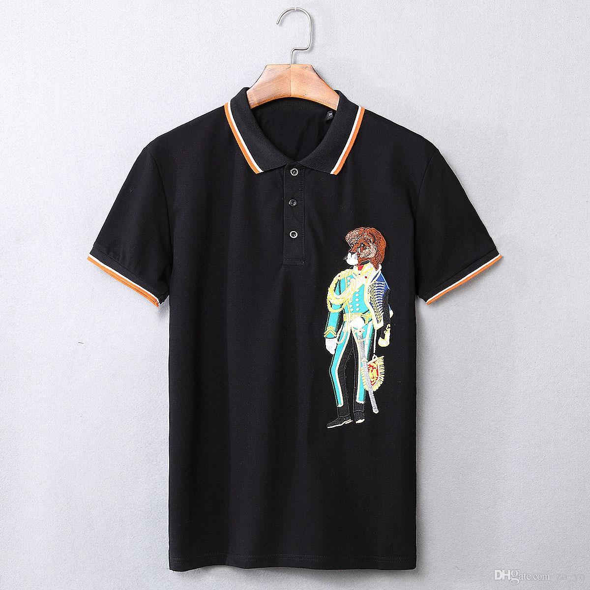 2018 Luxury Brand Mens Lion Embroidery Polo Shirts New Design Black