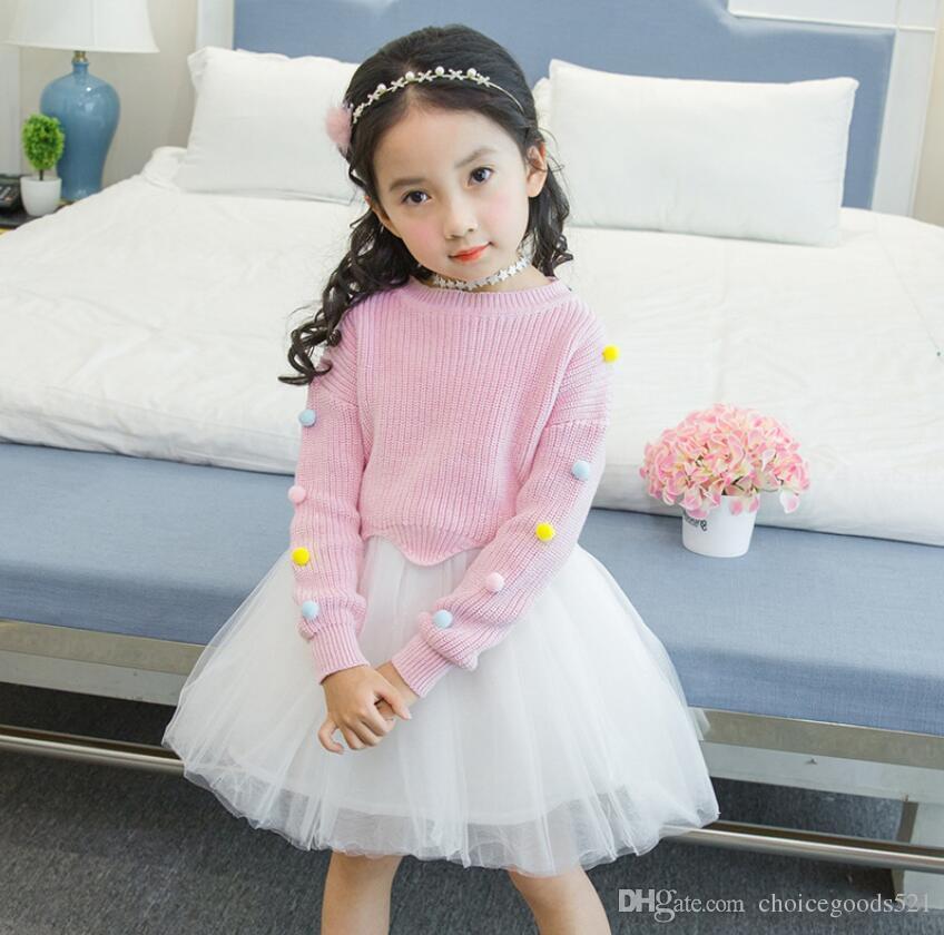 f4486df1d 2019 Children Clothing Kids Knitting Suit Girl Sweater+Tutu Skirt ...
