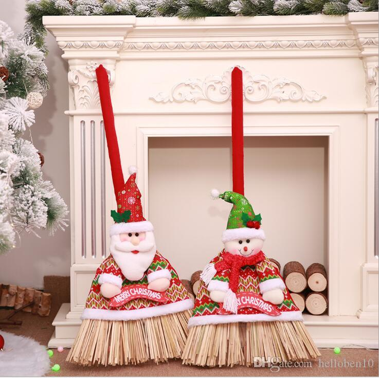 2018 christmas festival broom set santa claus snowman doll broom cover decoration for home xmas new year supplies christmas toy collection hottest christmas - Christmas Broom Decoration