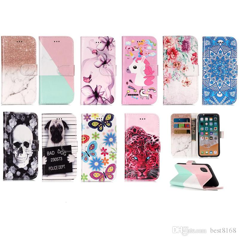 Skull Flower Wallet Leather Case For iPhone XR XS MAX X 10 8 7 Plus 6 5S SE Ipod Touch 6 5 Marble Leopard Dog Flip Cover Butterfly Cartoon