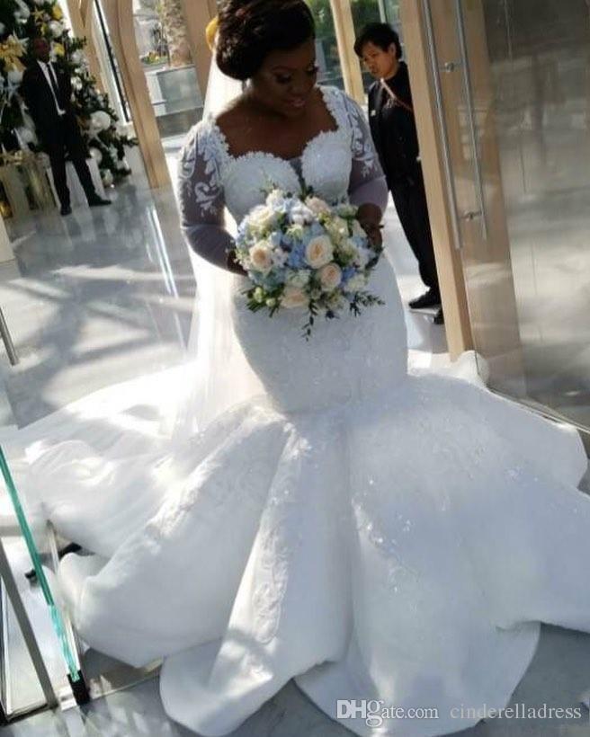 2018 más el tamaño de la sirena africana vestidos de novia de encaje apliques mangas largas mangas vestidos de novia de satén barrer vestidos de novia del tren Vestidos