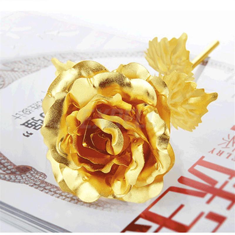 Fashion 24K Gold Foil покрыли Rose Творческих подарков Длятся Навсегда Роза для Свадебного Рождества Дня Влюбленных Подарков украшения дома