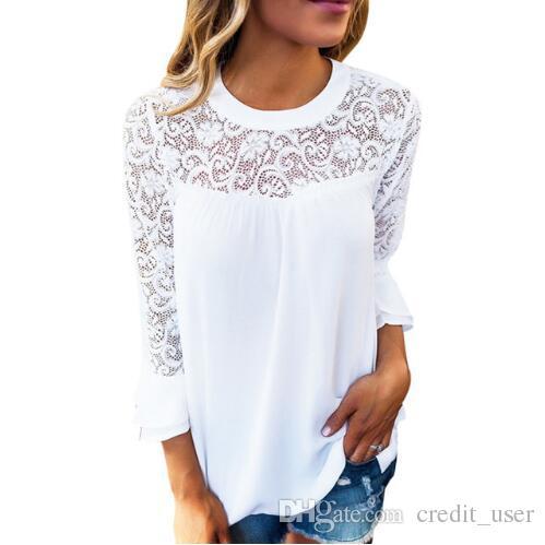 Acheter Été Femmes Top À Manches Longues Élégant Blanc Dentelle Blouse  Femme Creux Out Dames Bureau Shirt Transparent Coton Blusas Mujer De  6.54  Du ... 93ad26da249
