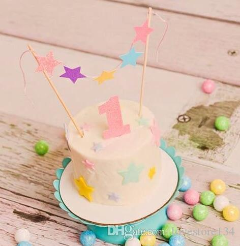 Personalized Number Name Twinkle Little Stars Birthday Cake Buntings Cupcake Toppers Banners Baby Shower Doughnut Food Picks Horse Party Supplies Italian