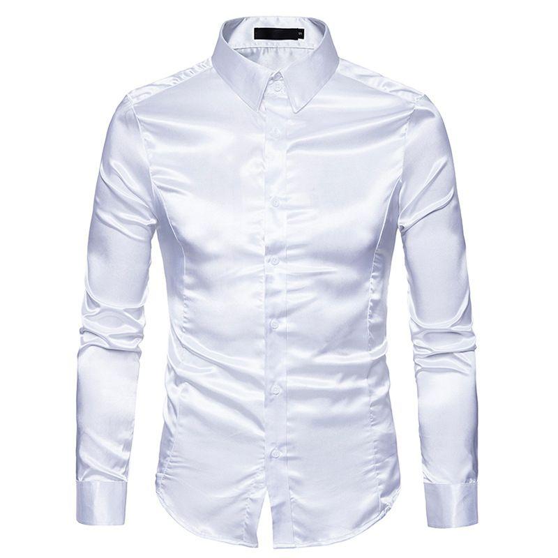 Compre Camisa De Seda De Los Hombres Negros 2018 Nuevo Slim Fit Manga Larga  De Seda Satinado Camisa De Vestir Para Hombre De Negocios De La Boda Del  Novio ... e352e866452