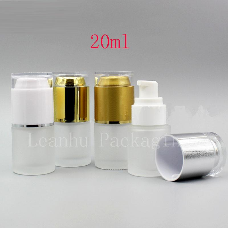 20ml frosted glass bottle with spray lotion pump (1)