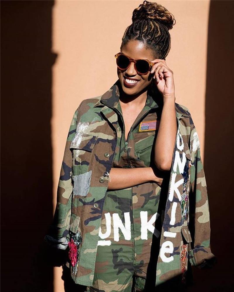 26c91f094aec 2019 Ladies Junkie Comoflog One Piece Jumpsuit Short Sleeve Knee Length  Camo Color Dress Up With National Flag Jumpsuits For USA Independence Day  From ...