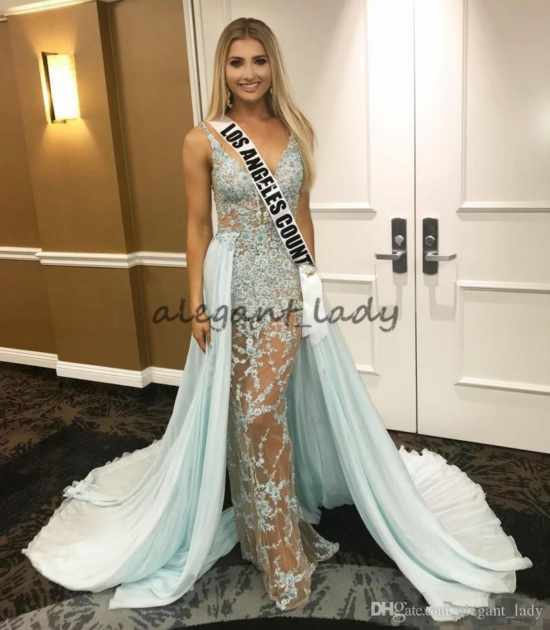 2018 Sage Overskirts Sexy Evening Dresses Illusion Bodice Lace Appliqued MISS USA pageant Formal Prom Wear Deep V Neck Celebrity Dress