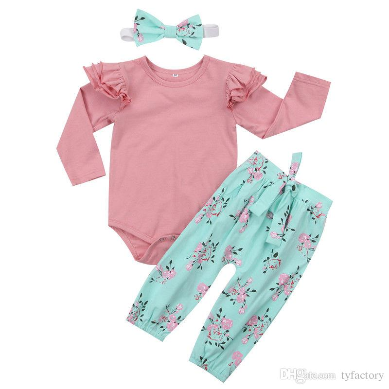 0cb9990d258e 2019 Cute Baby Girl Flower Clothing Romper+Pants+Headband Set Outfit  Ruffles Long Sleeve Bowknot Pink Blue Clothes Wholesale Boutique From  Tyfactory