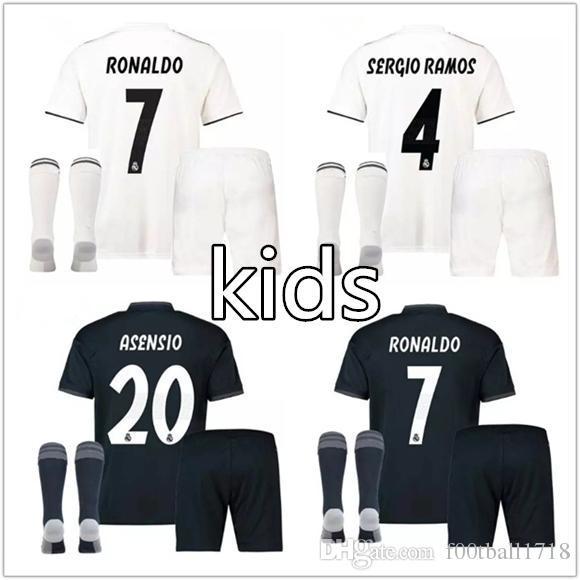 official photos c4f7d 83f74 kids kit Real madrid soccer Jersey 2018 2019 RONALDO Jerseys home white  BALE RAMOS ISCO KROOS children kits 18 19 football shirts uniform