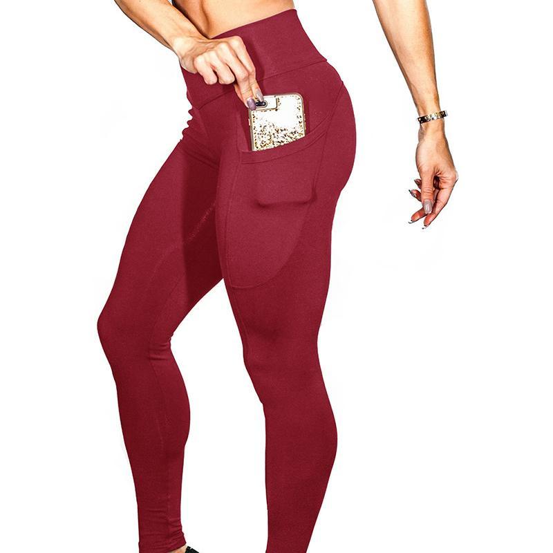 ca9838945ffcf Fitness Pockets Leggings Women Polyester Solid High Waist Pants Side ...