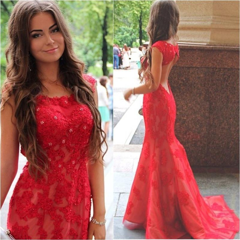 2018 Prom Dresses Mermaid Style Backless Red Lace Appliques Beaded
