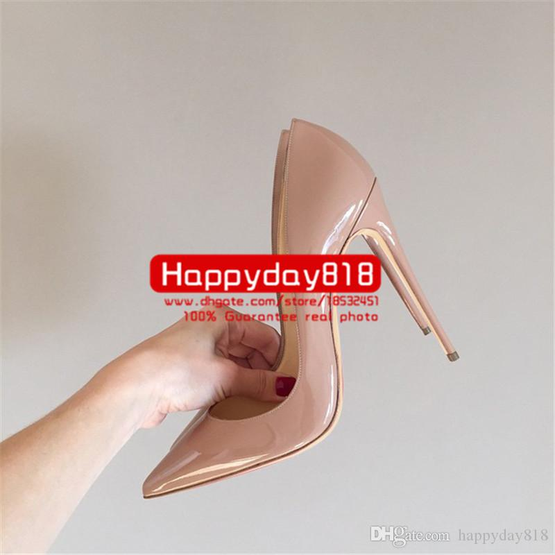 fee new style sexy Lady Nude patent leather point toe high heels shoes boots pumps 120mm 100mm genuine leather