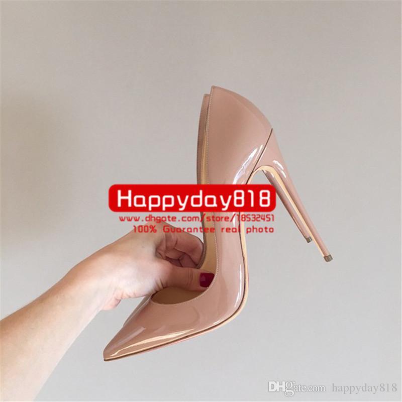 Taxa de frete grátis novo estilo sexy Lady Nude dedo de couro ponto de bico de salto alto sapatos botas bombas 120mm 100mm de couro genuíno