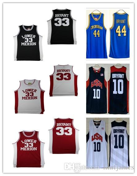 0a8010281b6b 2019 NCAA Lower Merion College 33 Kobe Bryant Jersey 44 Hightower Crenshaw  High School 2012 USA Dream Team 10 Basketball Jerseys Shirt From  Linrfjames