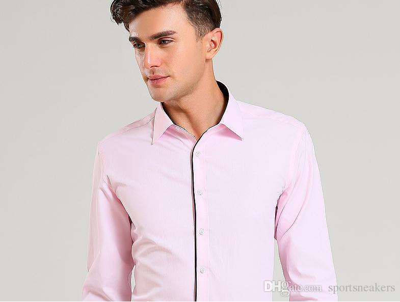 Мужчины бизнес рубашки с длинным рукавом мужская Slim Fit платье рубашки хлопок черный воротник рубашки плюс размер