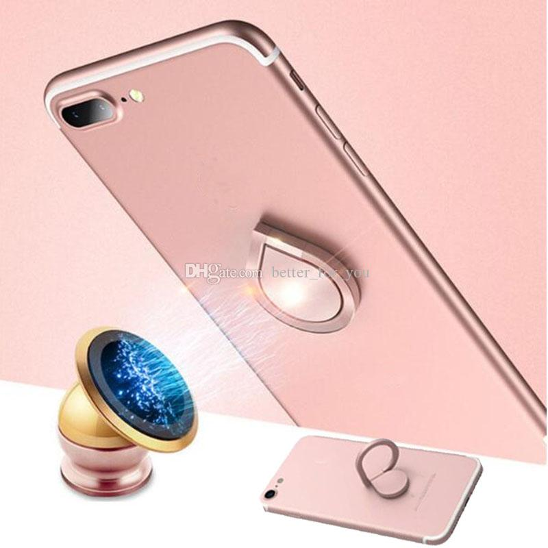 100pcs/lot Top Quality Electroplating Finger Ring Holder Universal Mobile Phone Ring Magnetic Stand With Retail Package For iP7 Sumsung S8