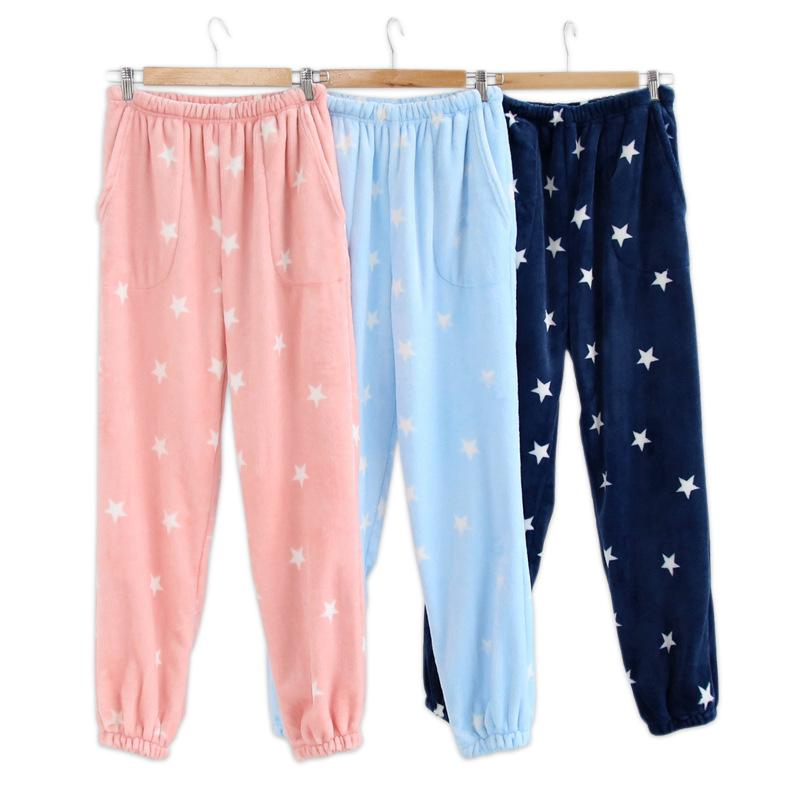 588e4097c793 2019 Cute Stars Flannel Sleep Bottoms Women Sheer Pant Couple Winter Warm Pyjama  Bottoms Women Pants For Sleep Elastic Leg Opening From Tutucloth