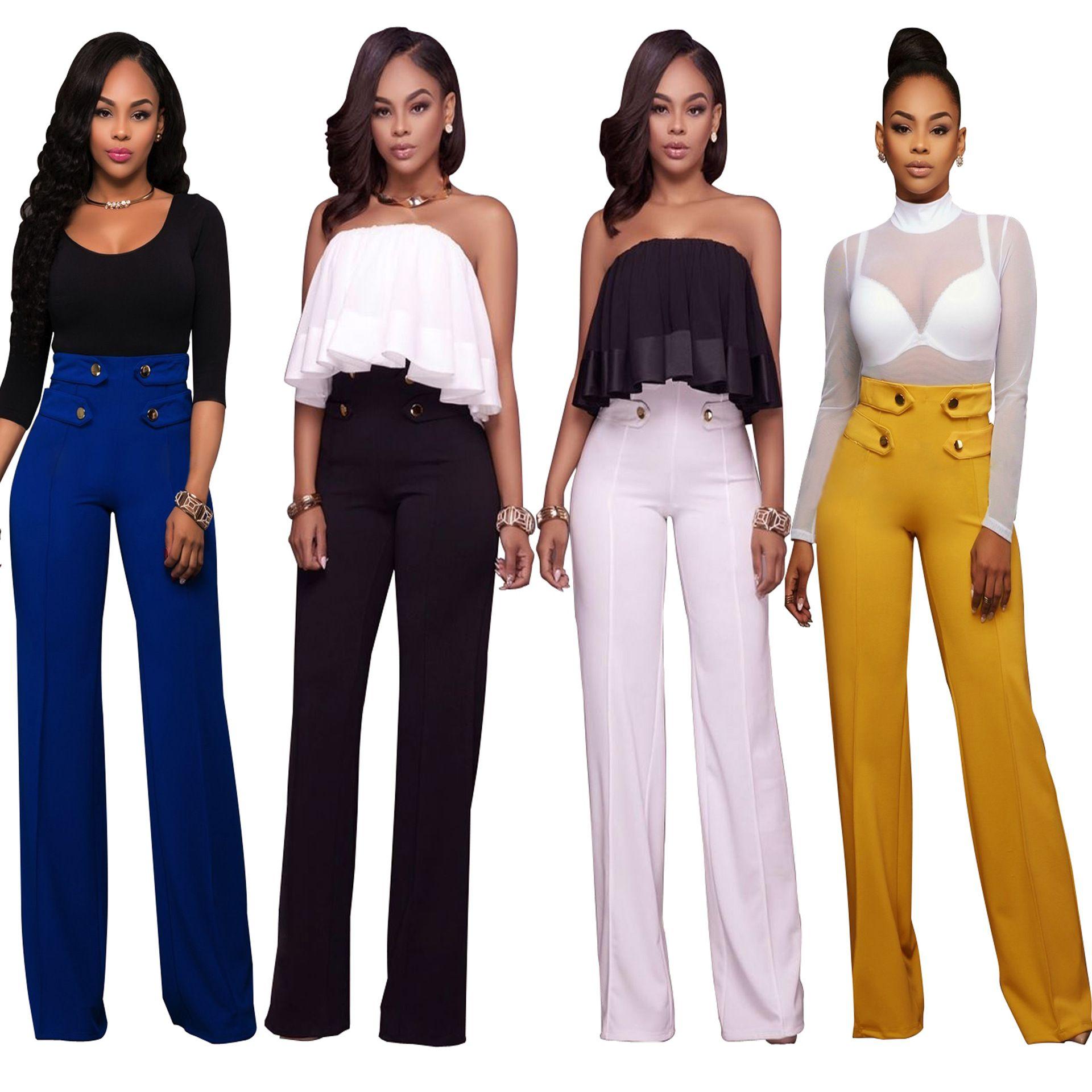 Compre Top 2020 Nuevos Pantalones De Ocio De Moda Para Mujer De Alta Calidad Casual Sexy Leggings De Pierna Ancha Rectos De Cintura Larga Delgados De Talla Grande Pantalones Sueltos A 19 05