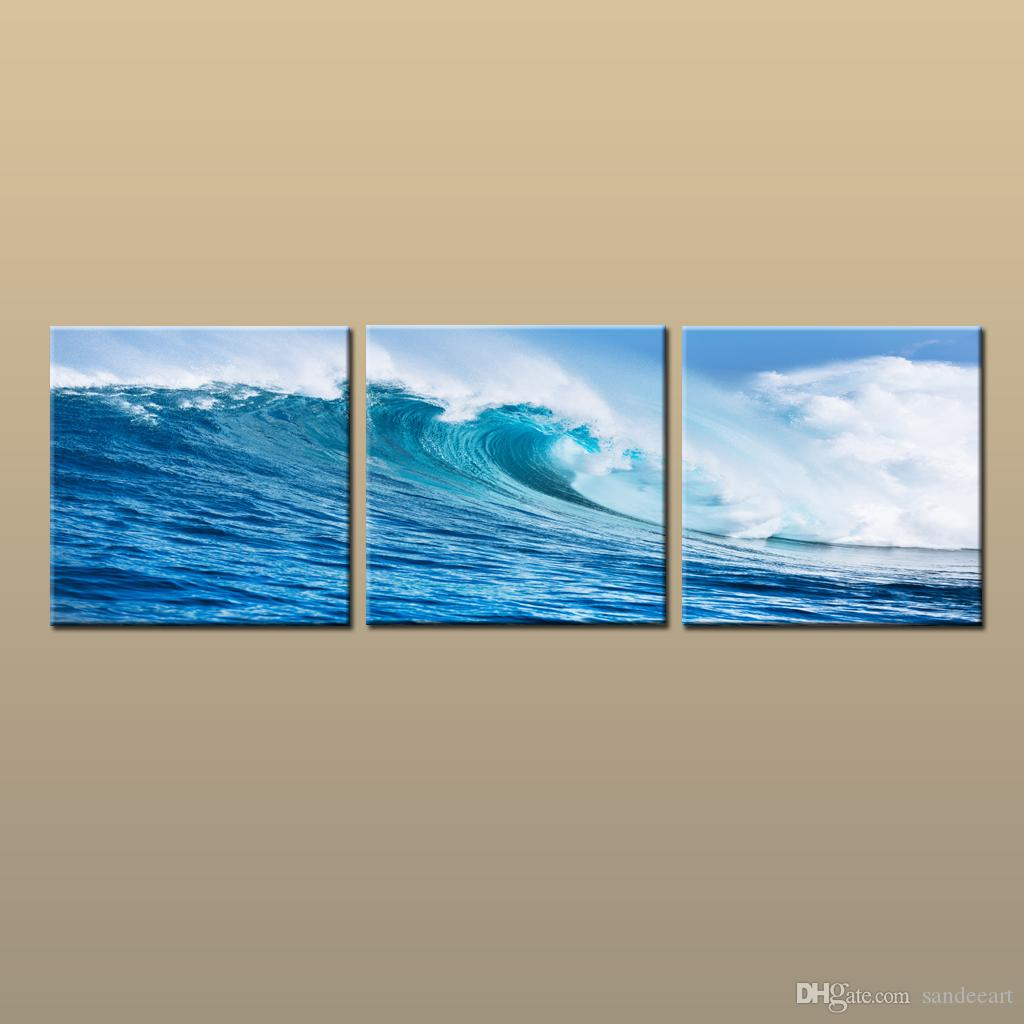 Framed/Unframed Hot Modern Contemporary Canvas Wall Art Print Blue Seascape Wave oil painting Picture 3 piece Living Room Home Decor abc261