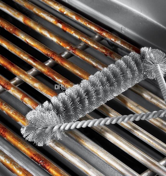 12 inç 3-Sided BARBEKÜ Izgara Fırça yapışmaz Barbekü Izgara BARBEKÜ Fırça Paslanmaz Çelik Tel Kıllar Temizleme Fırçaları Kolu Ile Dayanıklı Pişirme