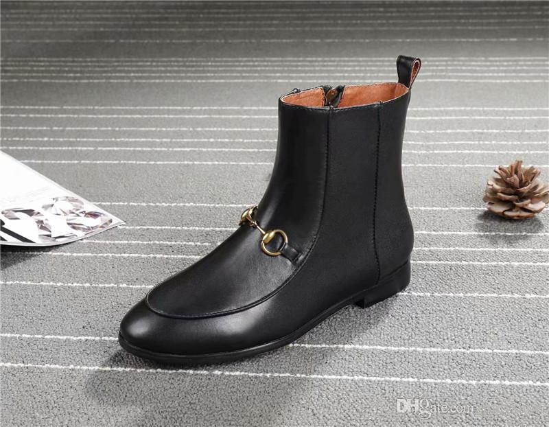 5eba708ba45 2018 Women Boots Fashion Metal Horseshoe Chain Decor Flat Heel ...