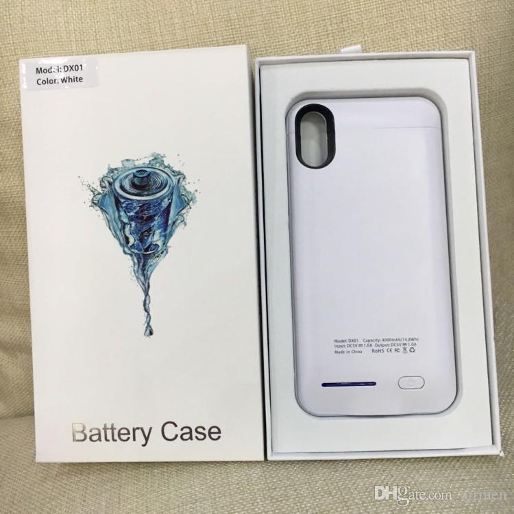 iPhone X 8 7 6 Plus Power Bank Caricabatterie telefono sottile Custodia batteria Batteria esterna cover posteriore con cavalletto con confezione al dettaglio