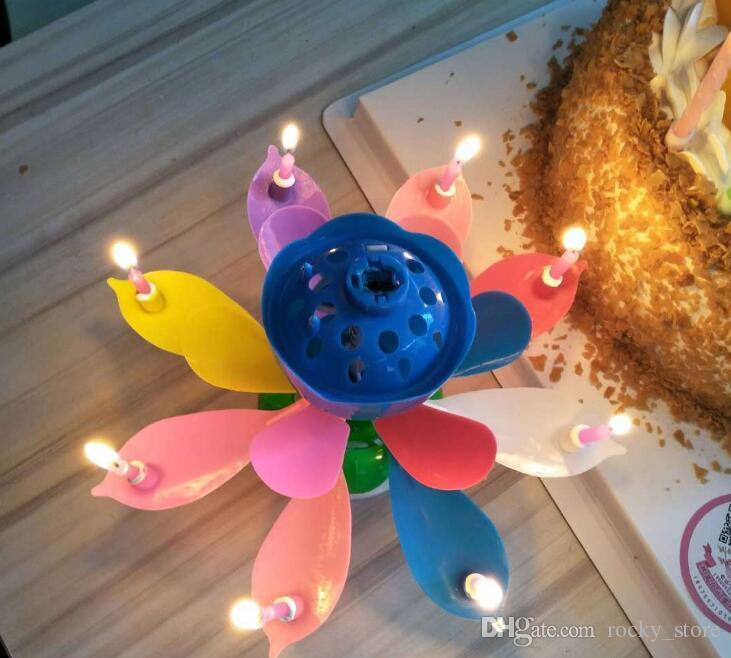 a67da8f518 Compre Nueva Pétalos De Colores Música Vela Niños Fiesta De Cumpleaños  Lotus Espumoso Velas De Flores Squirt Blossom Flame Cake Accesorio Regalo A   2.29 Del ...