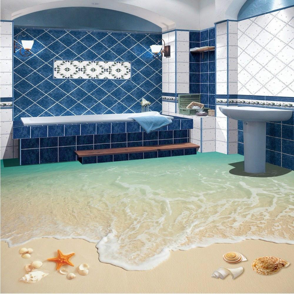 Surf Beach Living Room Bathroom 3d Floor Tile Painting Wear Non Slip Restaurant Study Flooring Wallpaper Mural Animated Desktop